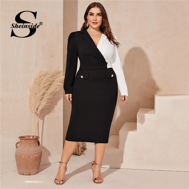 Sheinside Plus Size Elegant Two Tone Trim Midi Dress Women 2020 Spring Split Back Pencil Dresses Ladies V Neck Wrap Dress