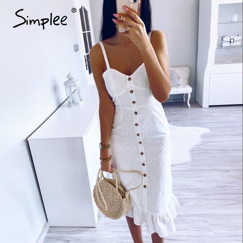 Simplee Elegant white lace women dress Sexy spaghetti strap female ruffle cotton dress Summer beach style ladies midi dresses