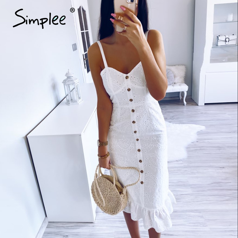 Simplee Elegant White Lace Women Dress Sexy Spaghetti Strap Female Ruffle Cotton Dress Summer Beach Style Ladies Midi Dresses