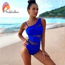Andzhelika Một Mảnh Sexy 1 Vai Đầm Lệch Vai Lưới Miếng Dán Cường Lực Đồ Bơi Áo Tắm Monokini