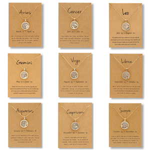 Classic 12 Horoscope Zodiac Sign Pendant Necklace Charm 12 Constellations Choker Necklaces Jewelry for Men Women Birthday Gifts
