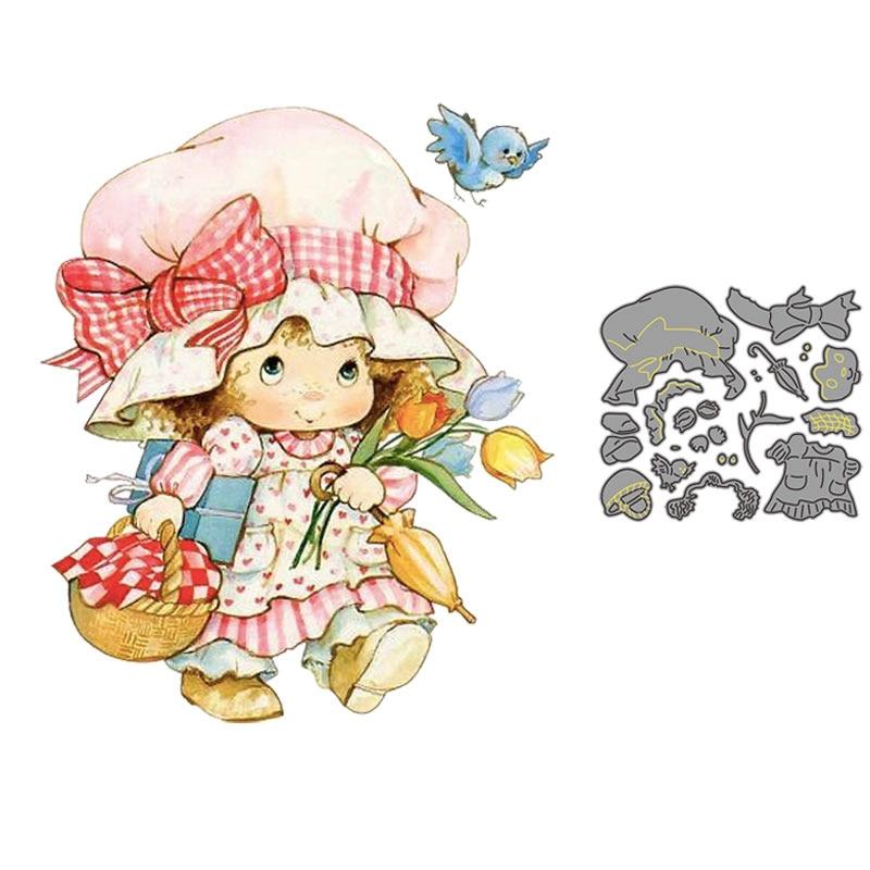 Metal corte dados europa pequena camponesa menina com chapéu flor pássaro molde scrapbook cartão de papel ofício álbum diy gravação morrer cortes