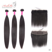 Mèches brésiliennes 100% naturelles Remy avec Frontal-Arabella | Cheveux lisses, pre-plucked, avec Lace Frontal en lots