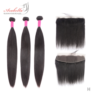 Pacotes com frontal brasileiro cabelo reto 100% remy pacotes de cabelo humano arabella pré arrancadas rendas frontal com pacotes