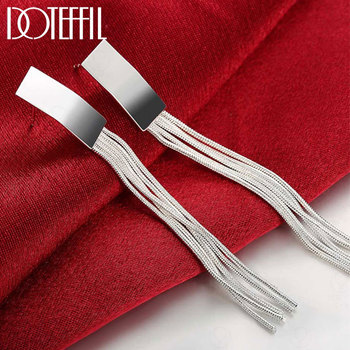 DOTEFFIL 925 Sterling Silver Long Tassel Earrings Charm Women Jewelry Fashion Wedding Engagement Party Gift doteffil 925 sterling silver grapes more beads charm bracelets jewelry for fashion women wedding engagement gift
