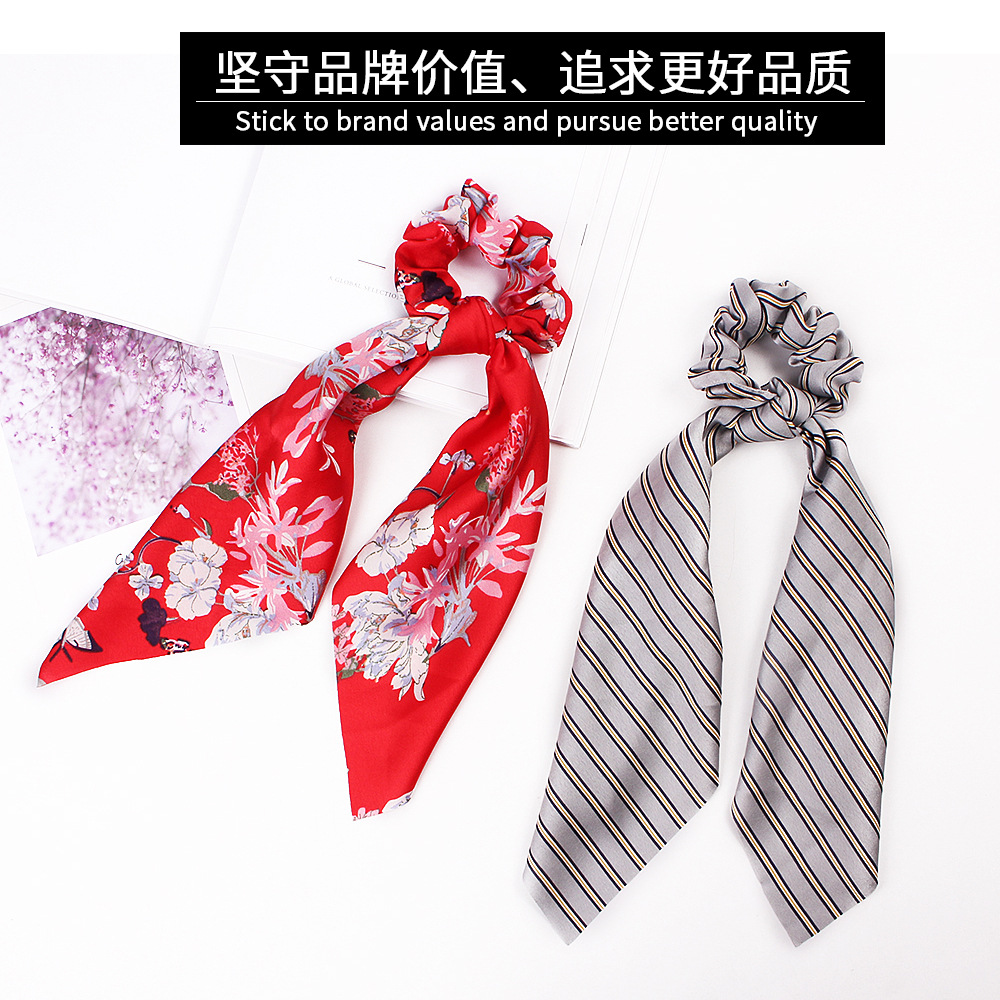 H6a79b521367d4aba850c9c9253487df2N - Fashion Silk Satin Summer Ponytail Scarf Stripe Flower Print Ribbon Hairbands Hair Scrunchies Vintage Girls Hair Accessoires