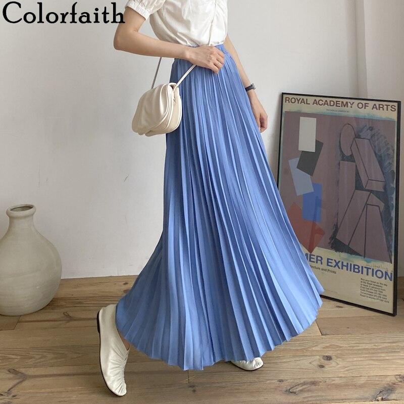 Colorfaith 2020 Women Casual Chiffon Maxi Skirt Spring Summer Pleated Multi Colors Fashion Flared High Waist Long Skirts SK1075