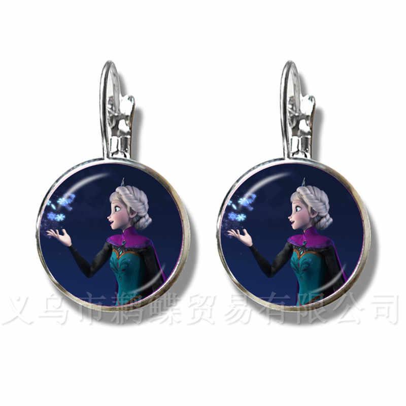 Marka bayan takı 16mm sınıf Cabochon prenses Elsa Anna kar kraliçe gümüş kaplama top küpe kadın kızlar hediye için