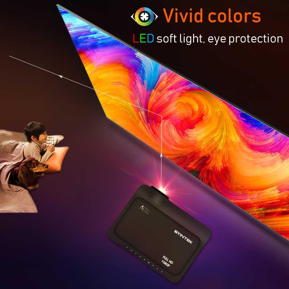 BYINTEK-proyector K18 Full HD 4K, Mini LED 10,0x1920 P para Android 1080 con proyector de cine en 3D y 4K para teléfono inteligente