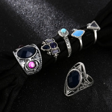 6 Pcs/set Trendy Bohemian Female Silver Alloy Metal Rings For Women 2019 Vintage Geometric Rhinestone Crystal Large Ring Set