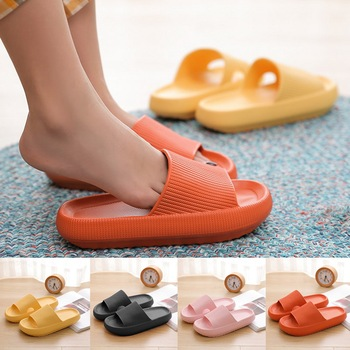 2020 Thick Sole Home Women Slippers 4.5cm Heel Ladies Platform Flat Shoes Non-slip EVA Living Room I