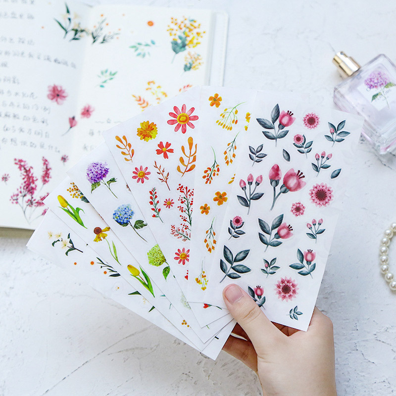 1Sheet Cute Flower Stickers Kawaii Plant Stationery Stickers PVC Adhesive Sticker For Kids DIY Scrapbooking Diary Supplies