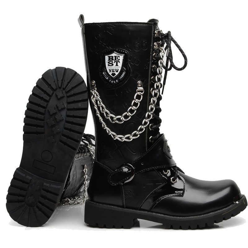 OUDINIAO Leger Laarzen Mannen Hoge Militaire Combat Mannen Laarzen Mid Calf Metalen Ketting Mannelijke Motorfiets Punk Laarzen Lente mannen schoenen Rock