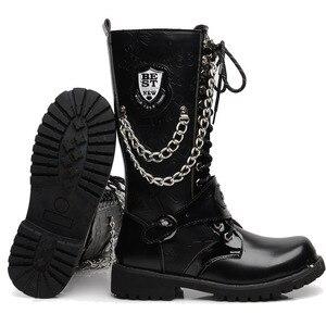 Image 2 - OUDINIAO bottes militaires pour hommes, bottes militaires hautes, bottes de Combat, mi mollet, chaîne métallique, moto Punk, printemps chaussures pour hommes, Rock