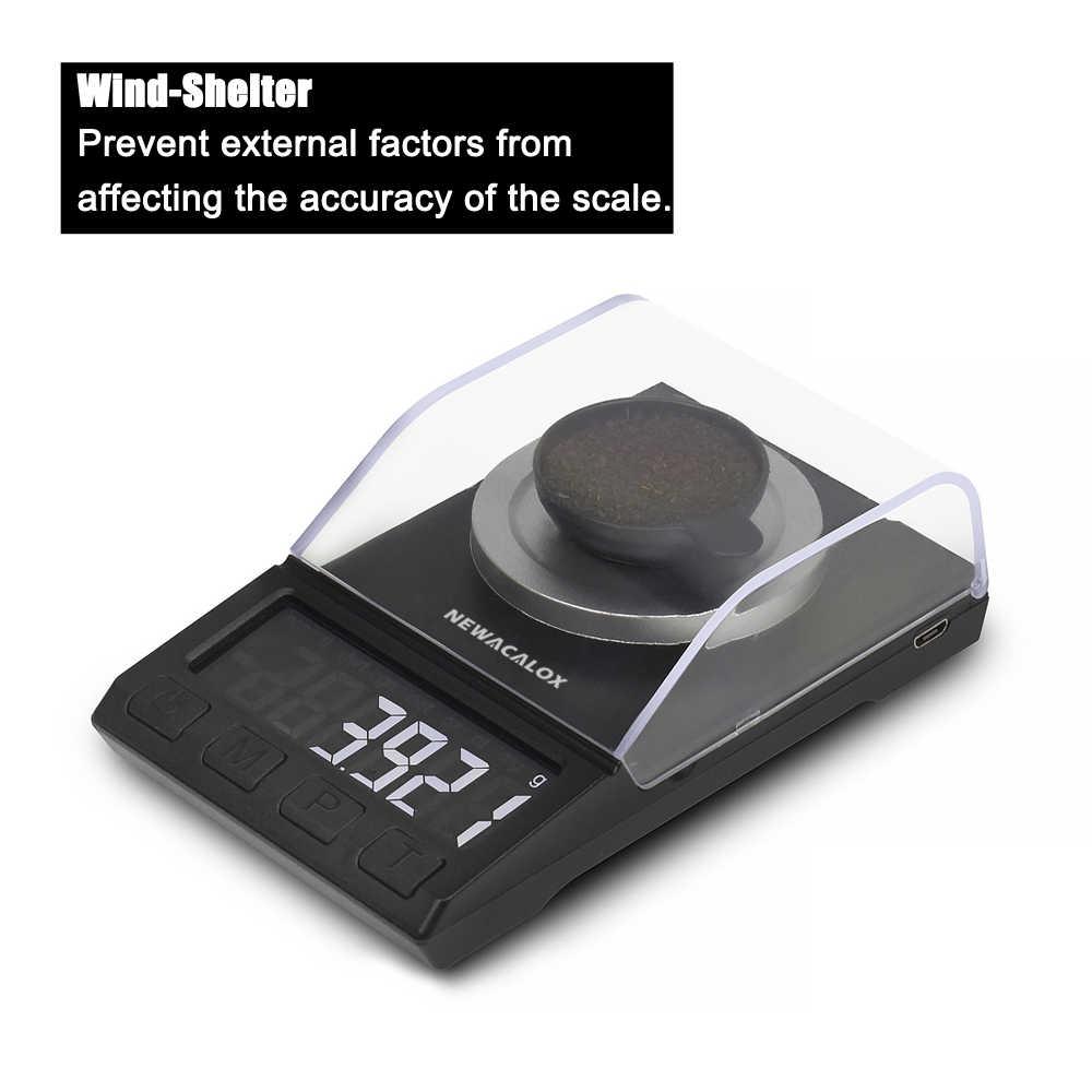 NEWACALOX numérique milligramme bijoux échelle 0.001g précision balances électroniques 100g/50g Portable Multi laboratoire recharge poudre échelles