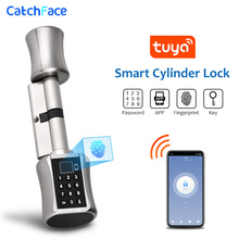 Bluetooth Fingerprint Cylinder Lock Tuya APP Biometric Electronic Smart  Door Lock Digital Keypad Code Keyless Lock Home/Apartme biometric electronic smart door lock fingerprint keyless code lock smart with 4 cards 2 mechanical keys for entry office home