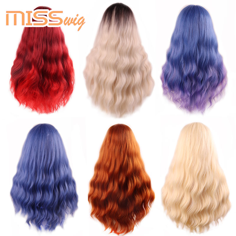 MISS WIG Long Wavy Wigs for Black Women African American Synthetic Hair orange Brown Wigs with Bangs Heat Resistant Wig 5