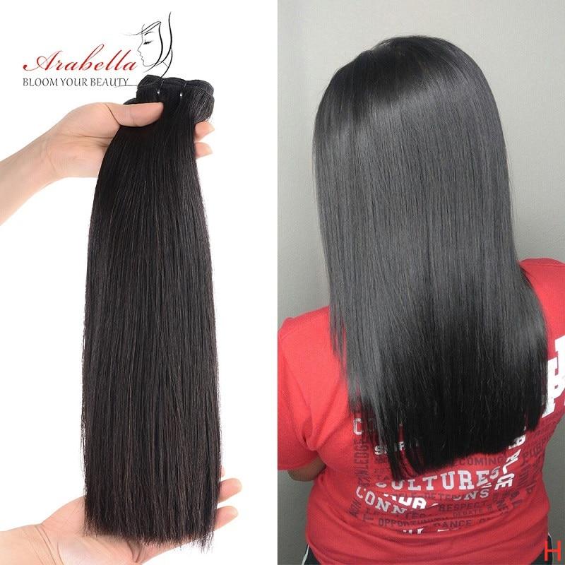 Mèches brésiliennes 100% naturelles-Arabella | Cheveux lisses, perruque en cheveux humains vierges avec Closure, en lot, Double épaisseur