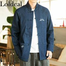 Loldeal Chinese Style Denim Stand Collar Jacket Vintage Embroidered Single Breasted Buckle
