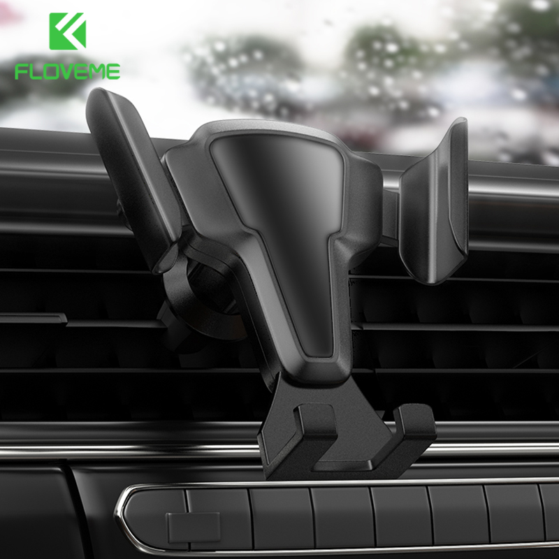 """FLOVEME 6.8"""" Thicker Gravity Car Phone Holder Auto Lock Silicone Pad Air Vent Clip Mount Stand Mobile Phone Holder Bracket InCar"""
