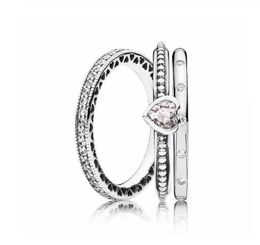 925 Серебряное кольцо Pave стекируемые сердца с женские кольца с настоящими Австрийскими кристаллами Свадебная вечеринка подарок ювелирные и...