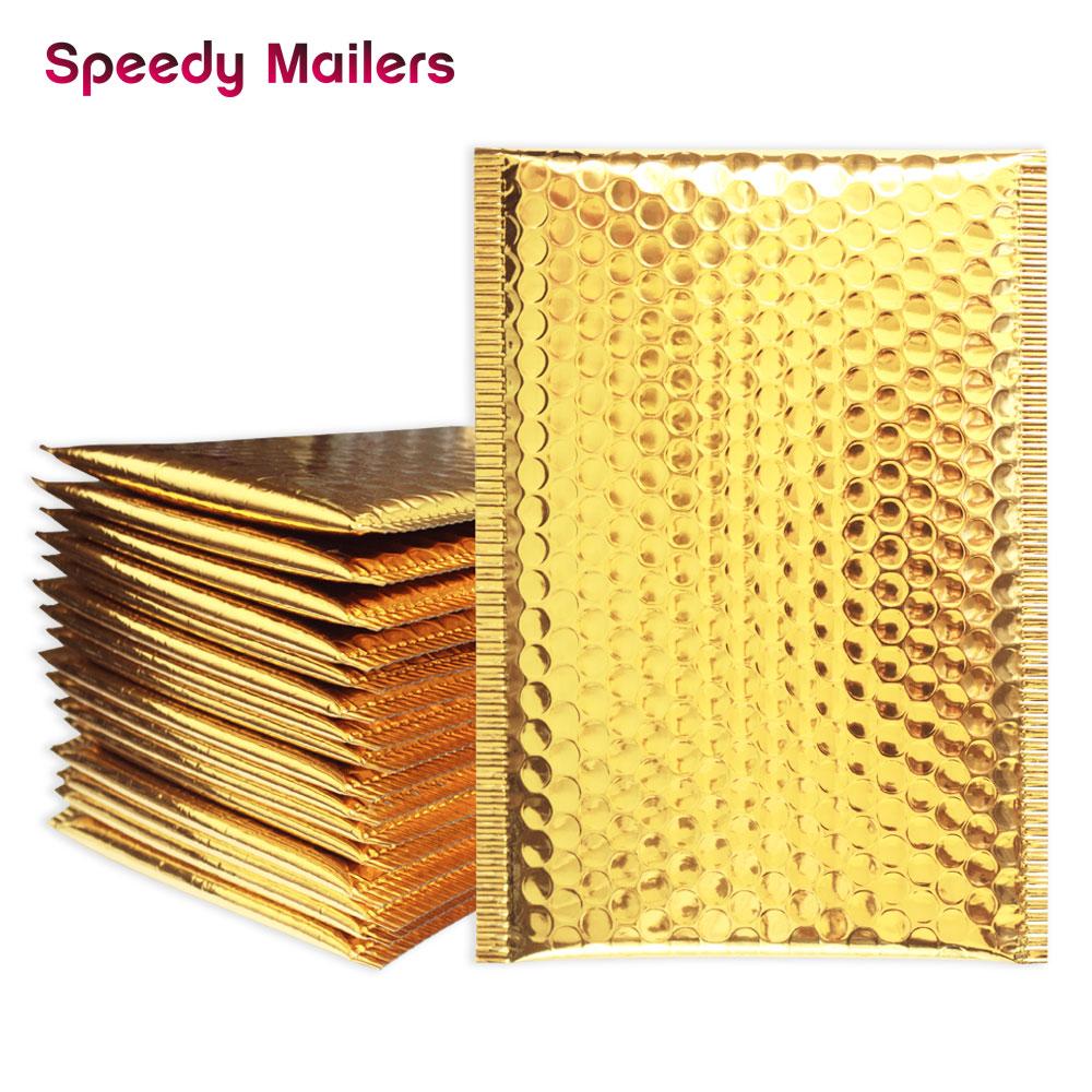 25PCS/Lot Gold Padded Bubble Envelopes Metallic Bubble Shipping Mailer Gold Aluminum Foil Gift Bag Packing Wrap