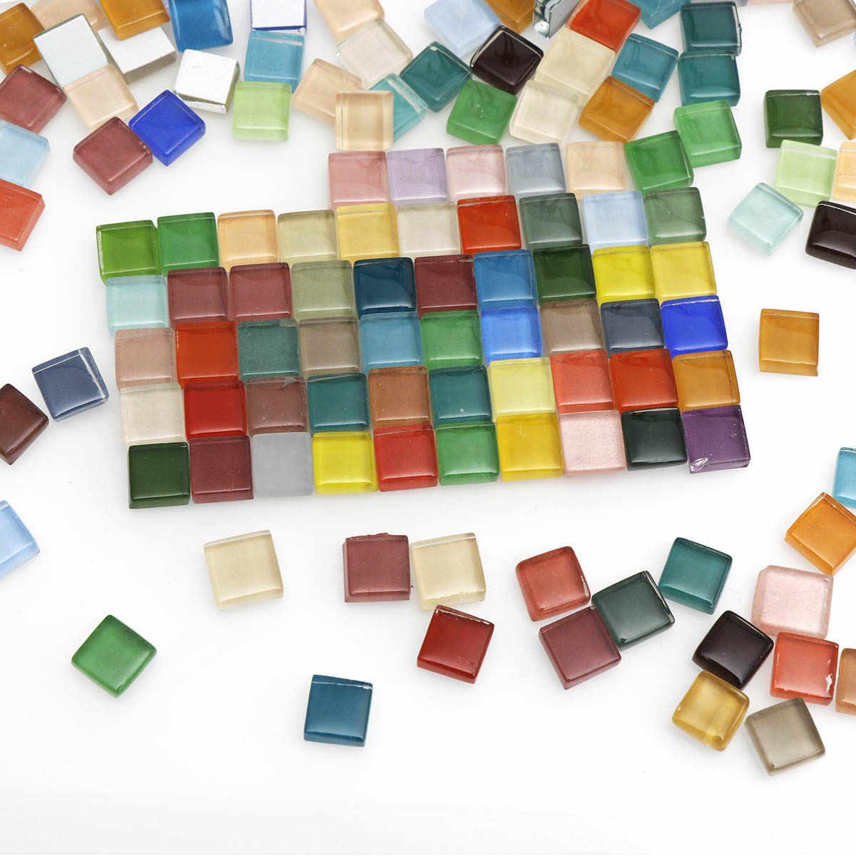 Azulejos de mosaico de cristal cuadrado transparente de varios colores 50g 100g para hacer mosaicos DIY, juegos de herramientas de artesanía de rompecabezas para bebés, piedra transparente