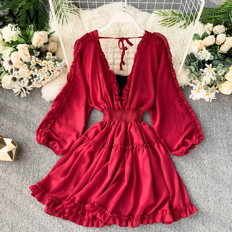 YuooMuoo Sexy Deep V Neck Women Dress 2019 Spring Early Fall Fashion High Waist Ruffle Bohemian Dress Korean Style Short Holiday