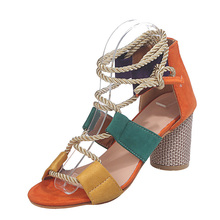 Summer High Heels Sandals Women Sexy Block Heels Fashion Women Sandals Lace Up Shoes Women Pumps New Ladies Shoes Plus Size