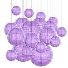 20 adet/grup 6  12 Mix boyutu menekşe kağıt fenerler çin kağıt fener mor top lamba düğün için parti tatil dekorasyon