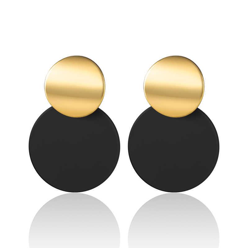 X & P موضة جديدة انخفاض الأقراط المستديرة للنساء 2019 بيان الكورية متجمد المعادن زغب استرخى أقراط خمر عملة مجوهرات