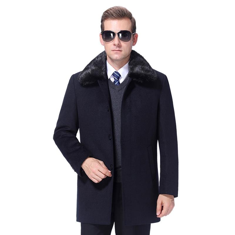 2020 Winter Men Wool Coat Warm Wool Jacket Woolen Coat Cashmere Peacoat Detachable Rabbit Fur Collar 90% White Duck Down Filler