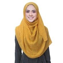 겨울 여성 스카프 이슬람 Hijab 스카프 일반 색상 면화 Viscose Shinny 스레드 Pliad Hijab 스카프