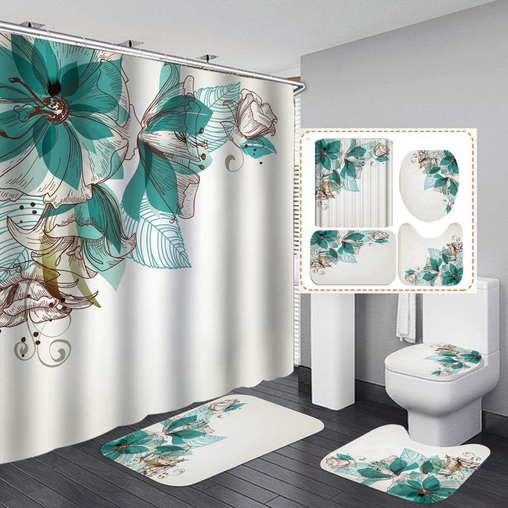 New Flower Series Printing Waterproof Polyester Shower Curtain,Toilet Cover,U-shaped Mat,Floor Mat 3 Pcs Set Bathroom Accessory