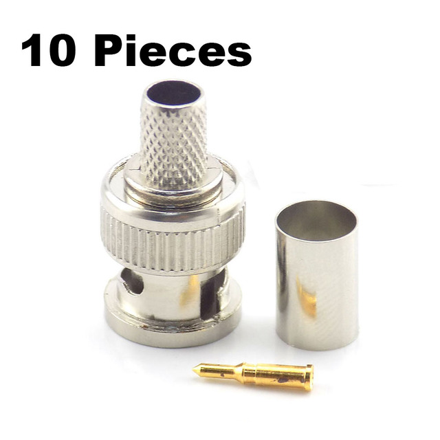 10Pcs/Lot 3 In 1 BNC Male Rg59 Plug Crimp Connectors Coupler Connector To Coax Cable for CCTV Camera System Accessories
