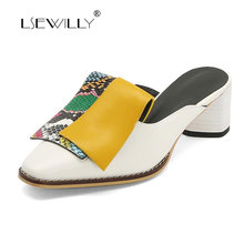 Lsewilly High Heel Women Shoes Snake Print Strange Style High Heel Mules Shoes Mixed Colors Square Toe Pumps Ladies Big Size цена 2017