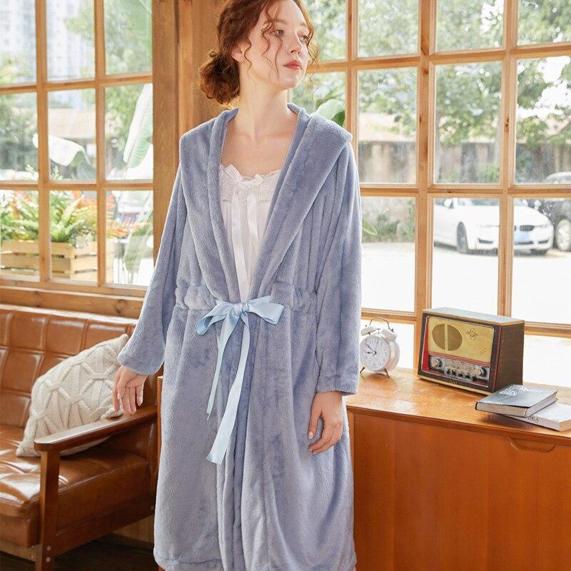 Roseheart Winter Blue Gray Fashion Sexy Pajama Sleepwear Nightwear Flannel Bow Woven Bathrobe Plus Size Long Robes Luxury