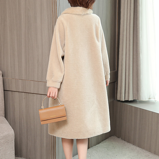 Женское зимнее пальто из натурального меха ягненка с воротником из натурального меха норки, Женское пальто из натурального меха овцы AQ640