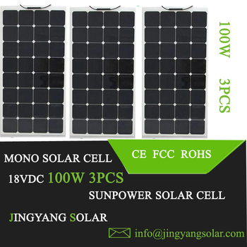 32 cells 12V/18V Sunpower 100W thin film Flexible solar panel best quality sunpower solar cell 300w solar panel 3pcs of 100w