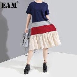 Женское плиссированное платье EAM, синее платье средней длины с коротким рукавом и круглым вырезом, весна-лето 2020 1W587