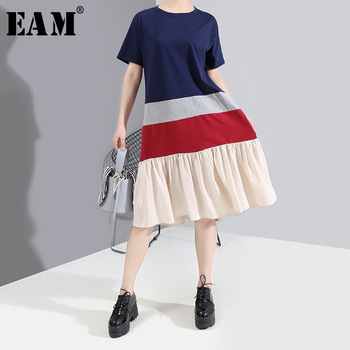 [EAM] Women Blue Contrast Colro Pleated Midi Dress New Round Neck Short Sleeve Loose Fit Fashion Tide Spring Summer 2020 1W587