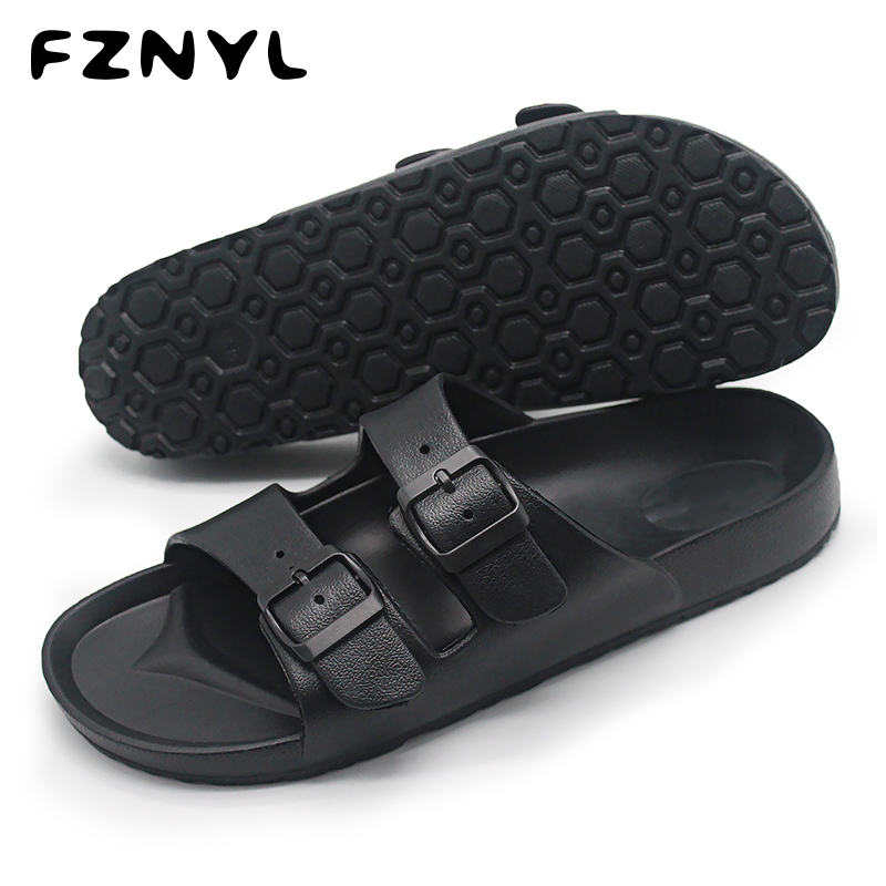 FZNYL Men Sandals Summer Beach Walking Breathable Soft Shoes Buckle Strap Design Male Casual Flip Flops Classic Black Sandalias