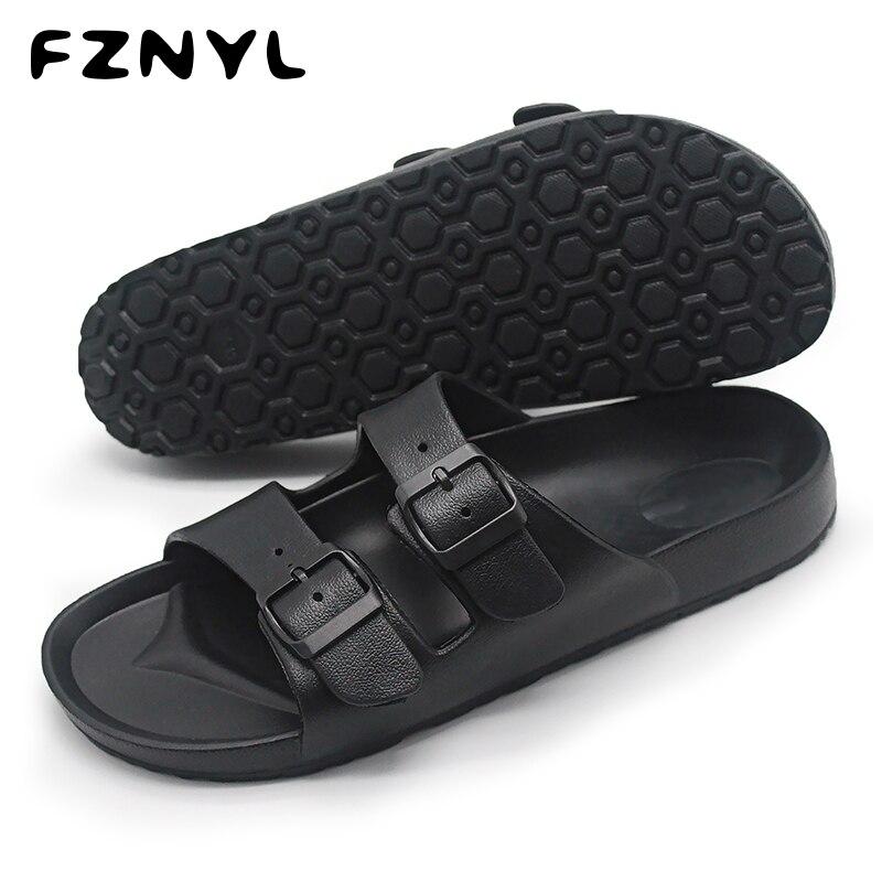 FZNYL Sandalias para Hombre Zapatos transpirables suaves para caminar en la playa de verano diseño de correa de hebilla chanclas casuales para hombre Sandalias negras clásicas
