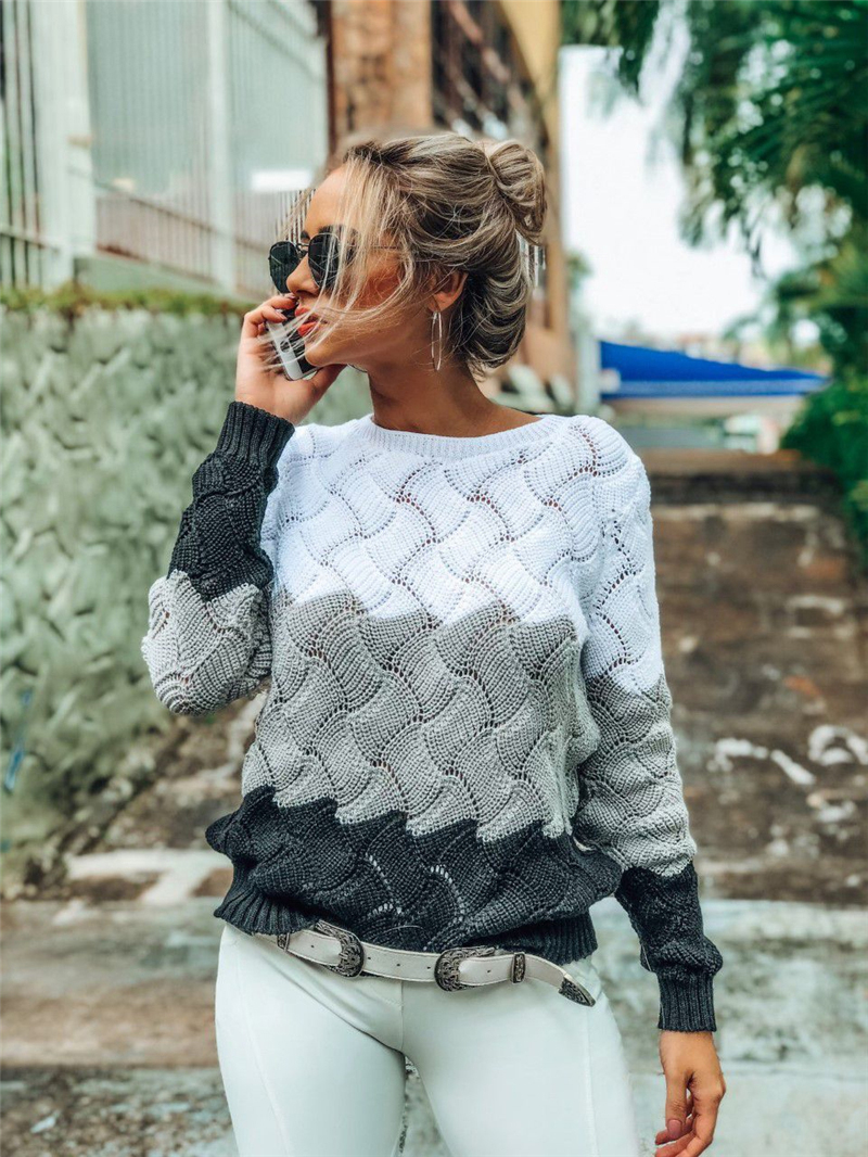 BEFORW 19 Women Winter Long Sleeve Crewneck Knitted Pullover Sweater Vintage Splice Casual Fall Womens Sweaters Pullovers Tops 3