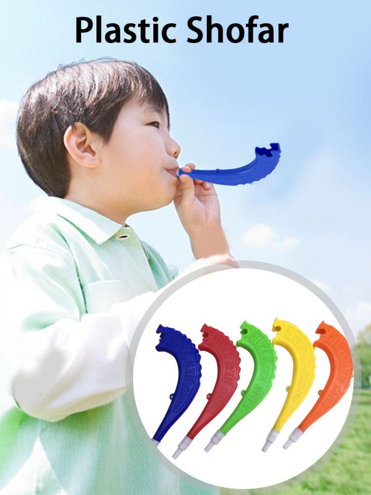 5pcs Plastic Child Horn Toy Shofar Shape Plastic Horn Toy Early Education Musical Instrument Shofar Shape Cheering Sound