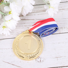 4 Pcs Creative Award Medals Wheat Ears Number Pattern Universal Metal Medals with Lanyard for Sports Worker Competition (Gold)