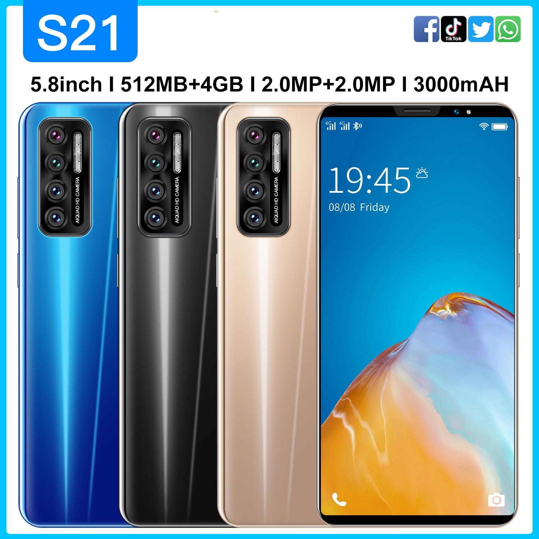 Дешевые смарт-телефон S21 5,8 дюймов полный Экран 3G WCDMA смартфон Android 4,4 512 Мб Оперативная память + 4GB разблокированный мобильный телефон с двумя ...