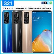 Günstige Smart Telefon S21 512MB + 4GB Handy 5,8 Inch Bildschirm Android 4,4 Entsperrt Dual Sim Mobiltelefon Celular 4500mAh Große batterie