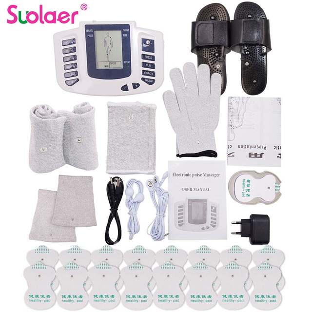 Electric Herald Tens Acupuncture Body Muscle Massager Digital Therapy Machine 16 Pads For Face Back Neck Shoulder Wrist Foot Leg