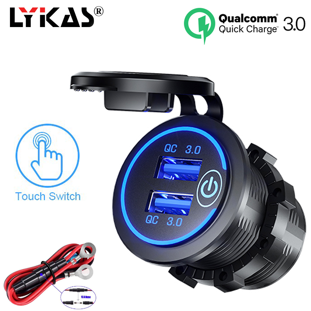 LYKAS QC 3.0 Car Charger Dual USB Socket with Switch On Off Touch Led Light Waterproof Car USB Phone Charger 5V 4.2A|  - title=